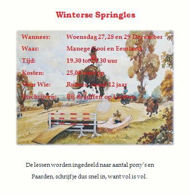Winterse Springles 27, 28 en 29 december 2017