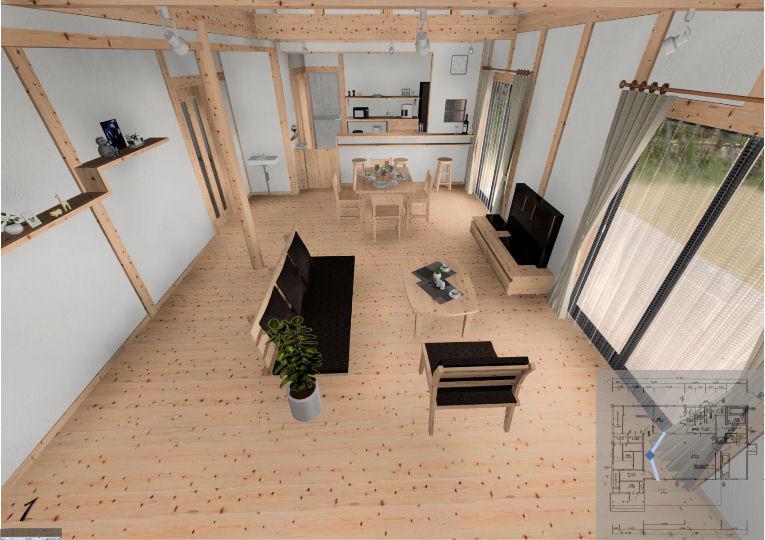 床材は宮崎県飫肥杉の「音響熟成木材・うづくりの床」を使用。保温性・調湿性に優れ、裸足で快適に過ごせます。