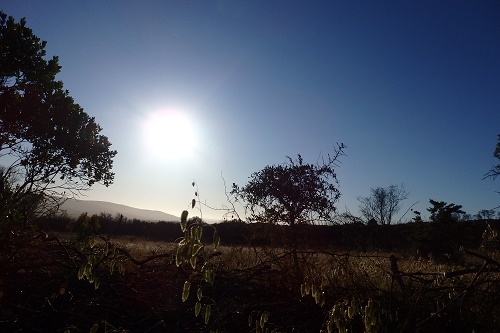 プラットボスを照らす朝日