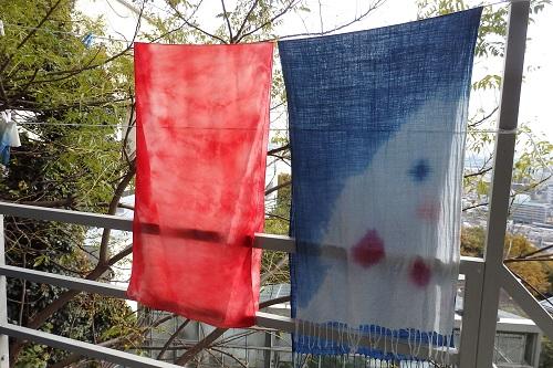 蘇芳(スオウ)と藍のストール