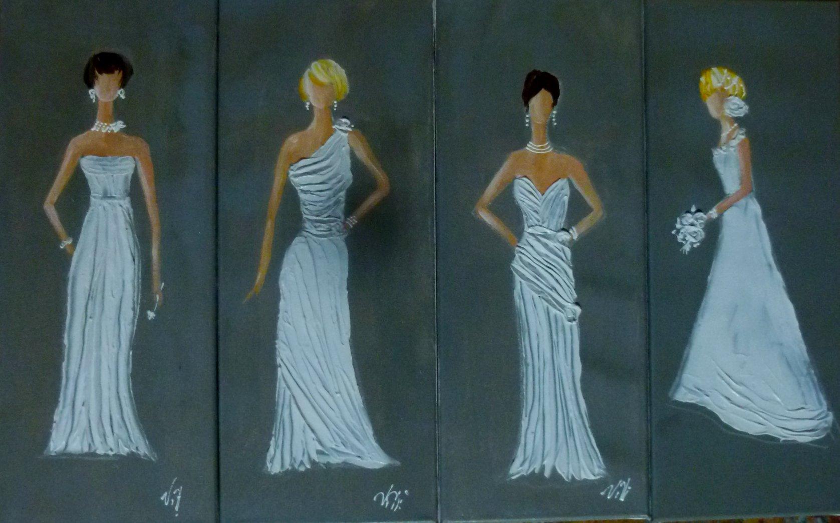 Tableau toile Mariées sculptées 2 4x20x50