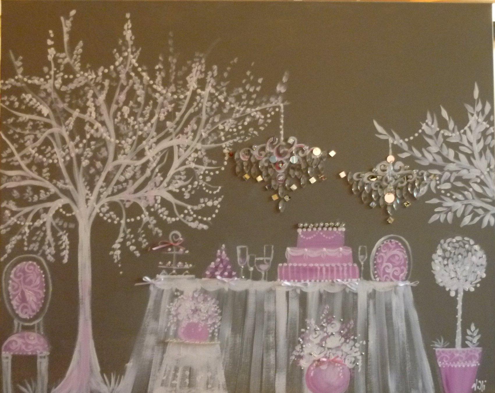 Banquet sous l'arbre 100x80