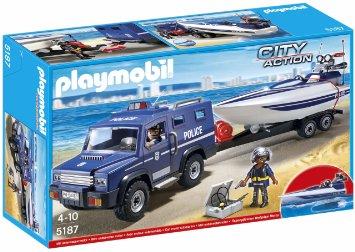Playmobil - Fourgon et vedette de la police (+ hélicoptère)