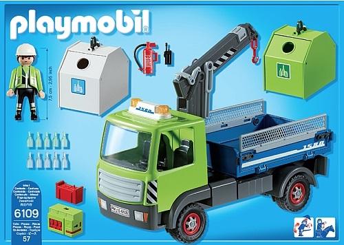 Playmobil - Camion avec grue et conteneurs à verre
