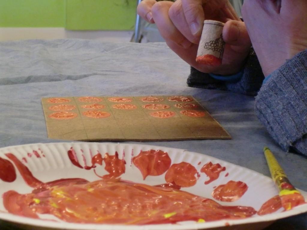 utilisation de bouchon de liège pour faire des cases en peinture