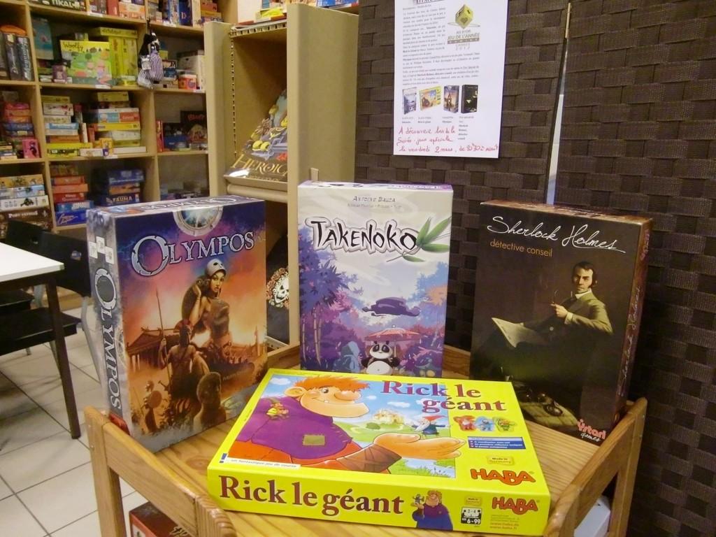 les quatre jeux primés : Takenoko (As d'Or), Olympos (Grand Prix), Sherlock Holmes, Détective Conseil (Prix spécial du jury) et Rick le Géant (As d'or Enfants)
