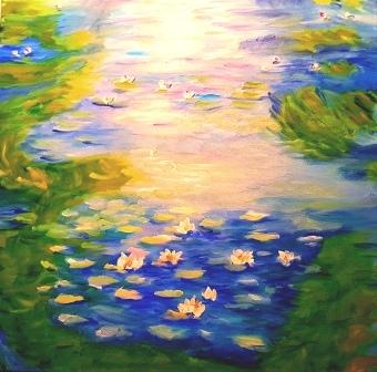 Seerosenbild 2, Öl auf Leinwand, inspiriert von Claude Monet
