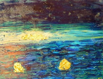 Goldene Inseln, 50 x 40 cm, Öl und Blattgold auf Leinwand