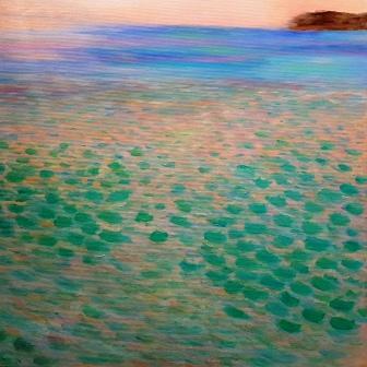 Attersee 1, 50 x 50 cm, Öl auf Leinwand, inspiriert von Gustav Klimt