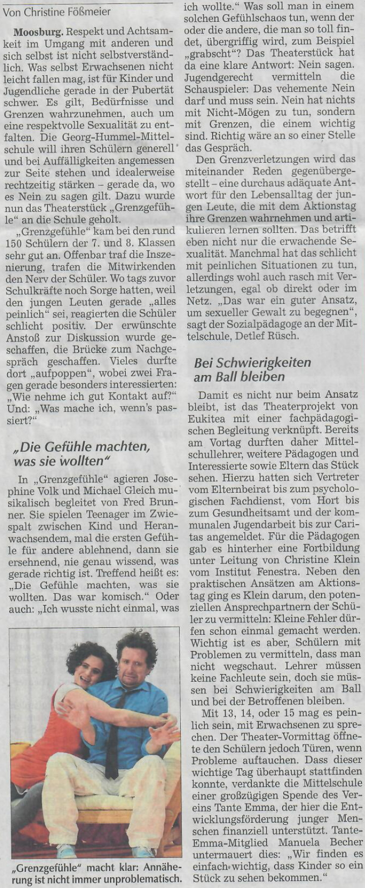 Quelle: Moosburger Zeitung S. 15 am Mittwoch, den 29. Januar 2020