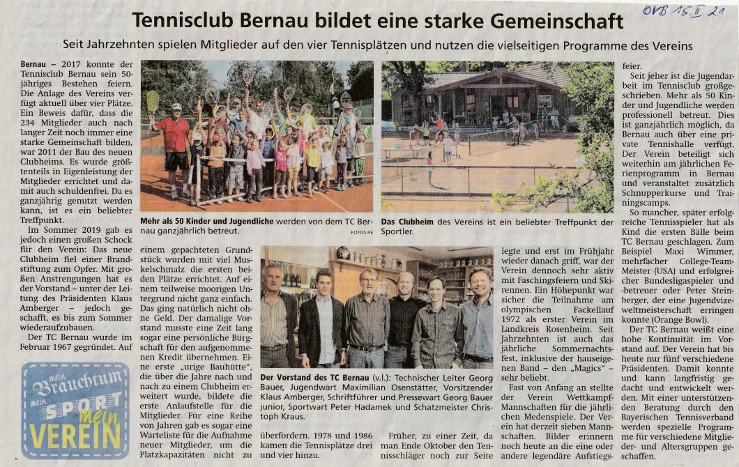 Vereinsportrait im Oberbayerischen Volksblatt