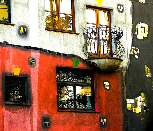 canvas on the building - architecture of Hundertwasser in Vienna