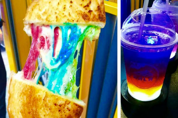 странная футуристическая еда в Гонконге: радужный сэндвич