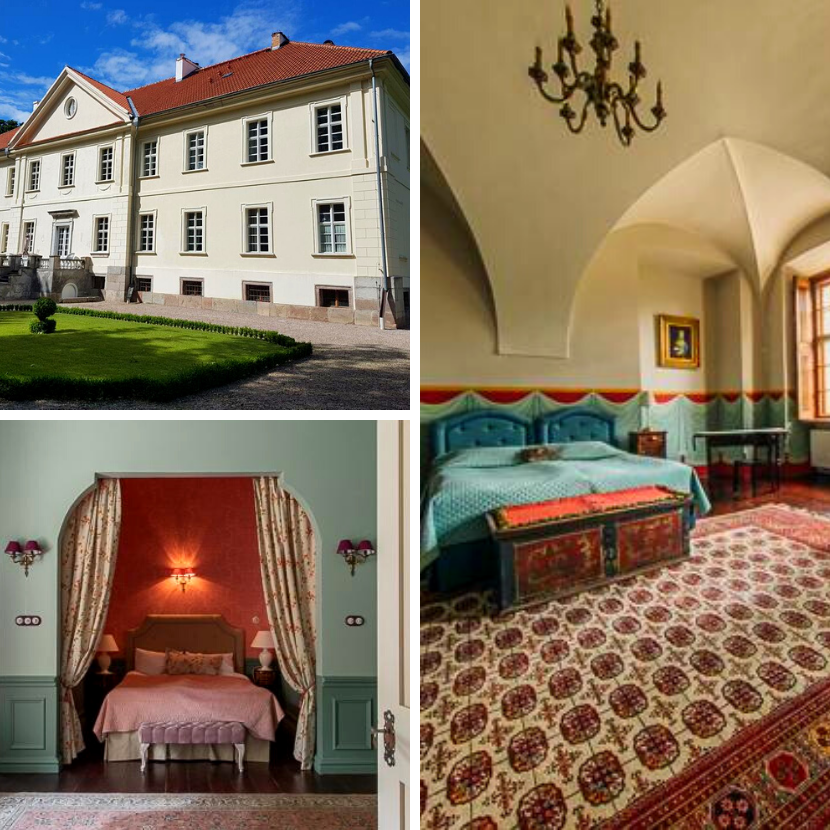 Unusual hotel palace in Mazury Lakes in Poland