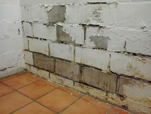 Durchnässter Kalksandsein duch Fehlende Bitumendickbeschichtung