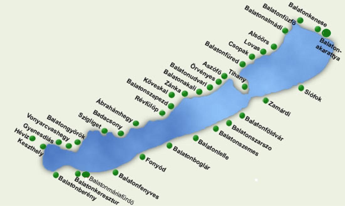 Het Balatonmeer met omliggende plaatsen