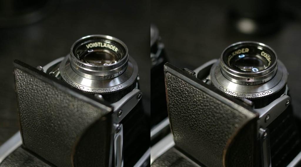 右は前期型、左が後期型。前期のシャッターはコンパーラピッド。後期はシンクロコンパー。