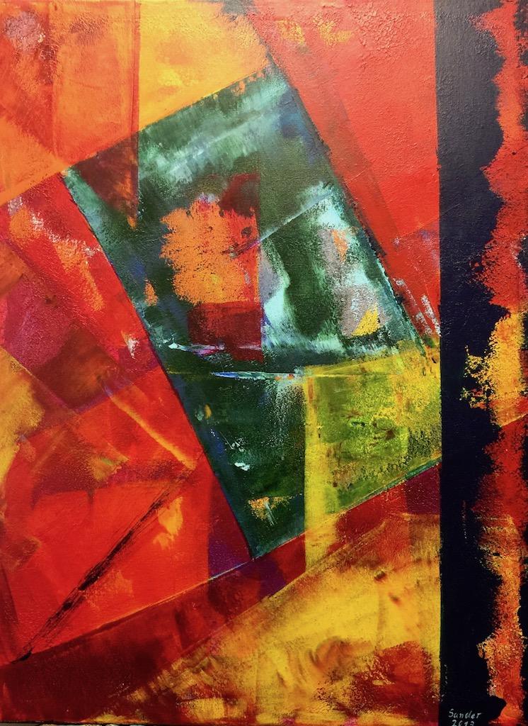 Farbkomposition - 1, 60 x 80 cm, Acrylfarben auf Keilrahmen, signiert und datiert 2017