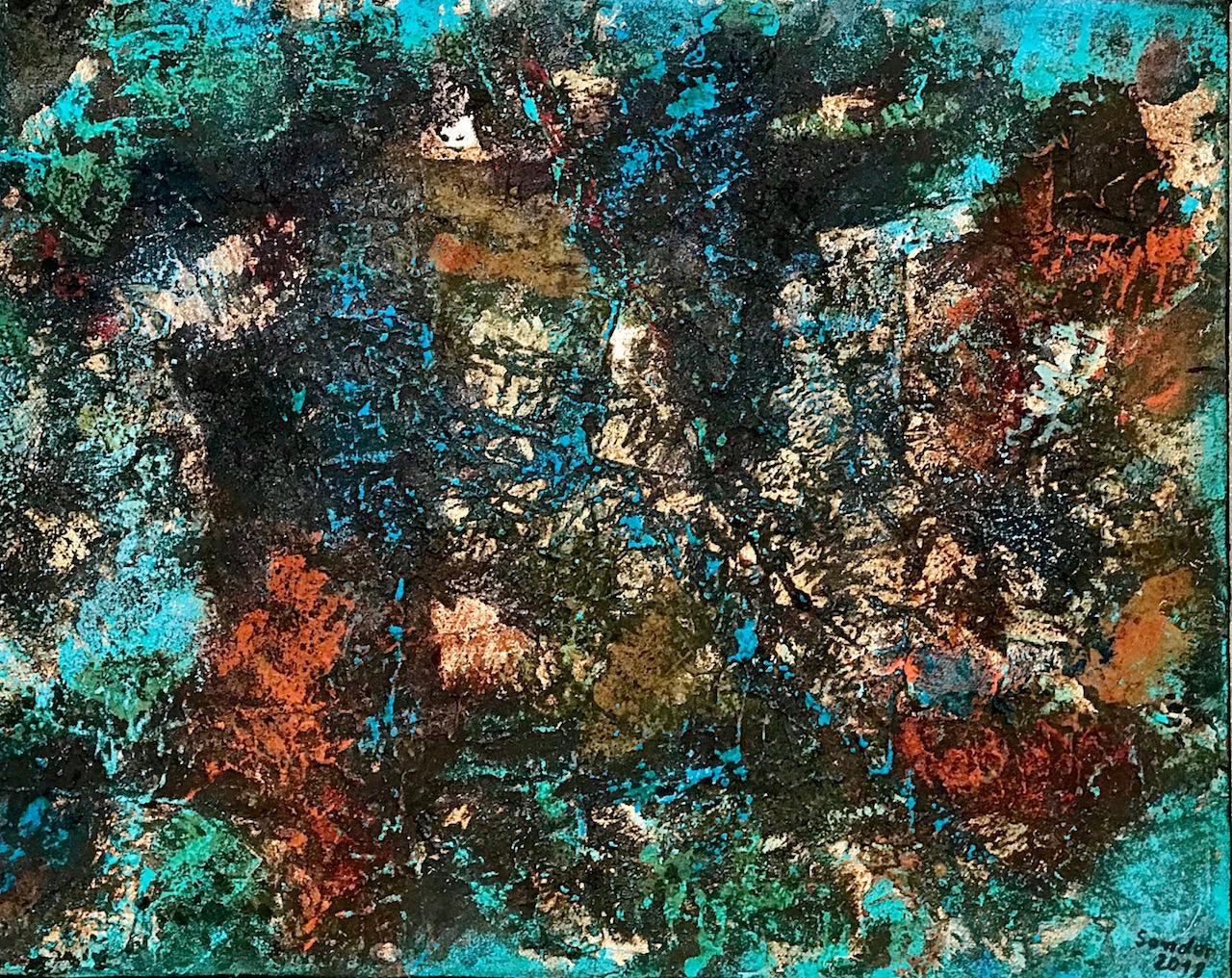 Struktur - 1, 40 x 50 cm, Acrylfarben auf Keilrahmen, signiert und datiert 2018