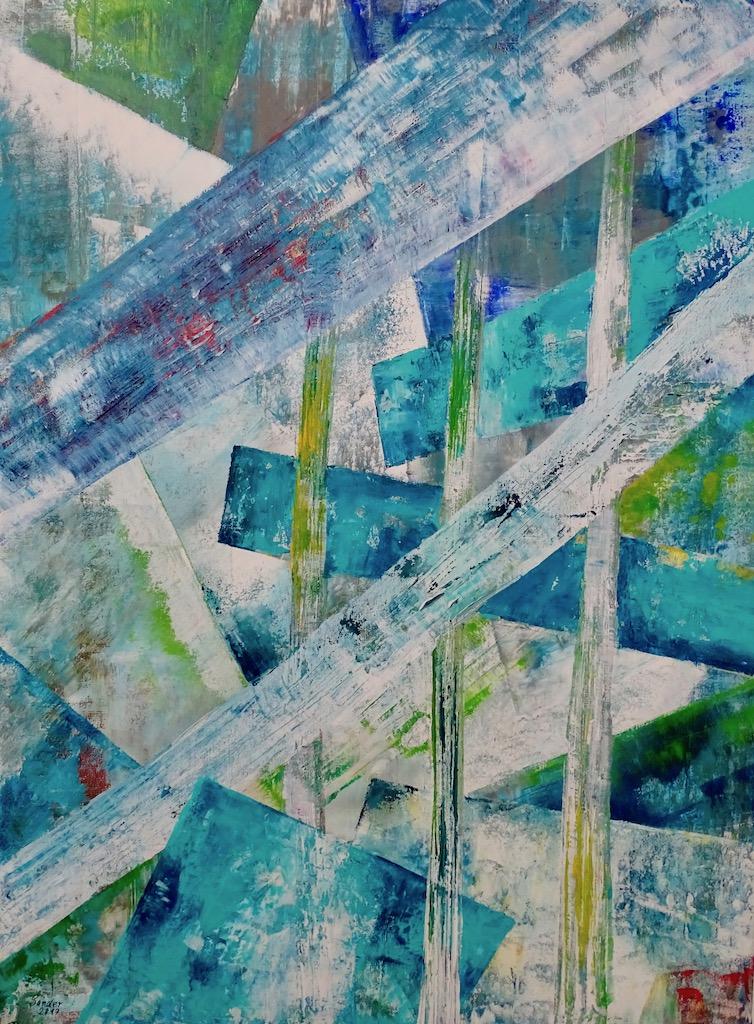 Farbkomposition - 4, 60 x 80 cm, Acrylfarben auf Keilrahmen, signiert und datiert 2017