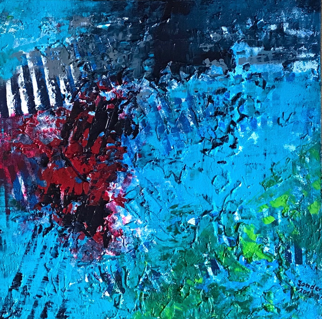 Komposition in blau - 2, 40 x 40 cm, Acrylfarben auf Keilrahmen, signiert und datiert 2018