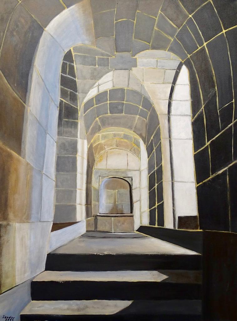 Gewölbe in Escorial, Madrid - 60 x 80 cm, Acrylfarben auf Keilrahmen, datiert und signiert