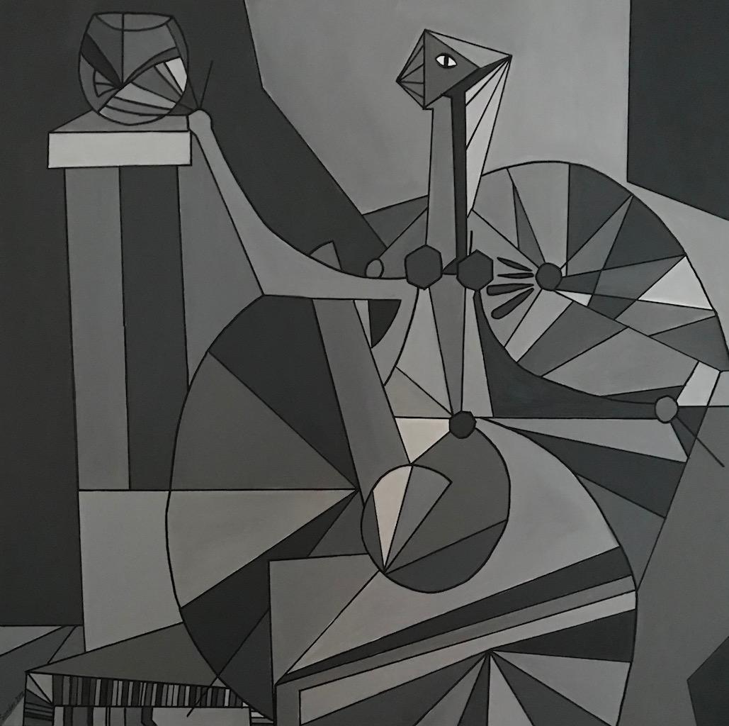 nach Dominguez, 100 x 100 cm, Acrylfarben auf Keilrahmen, signiert und datiert 2018