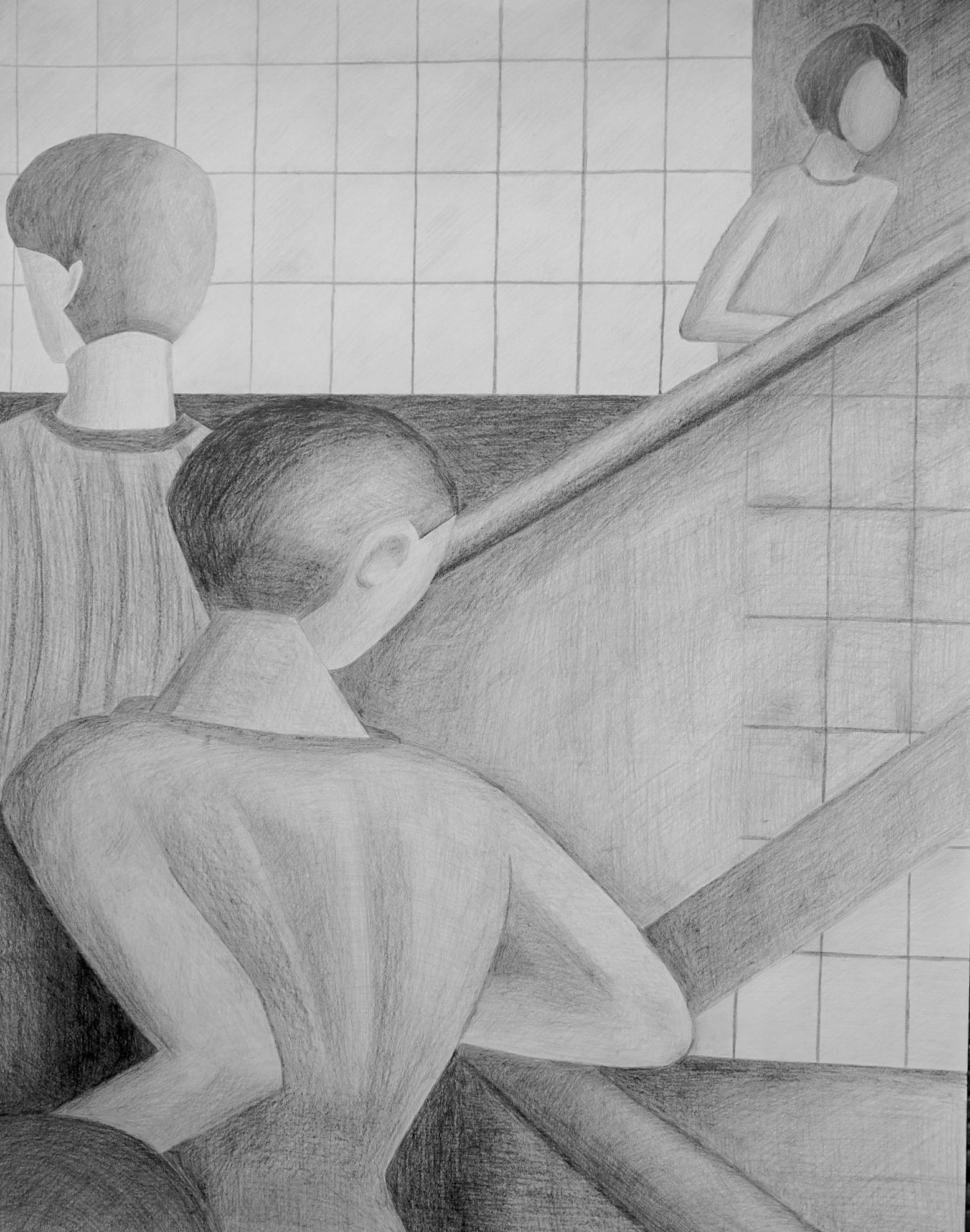 nach Schlemmer 1, 90 x 70 cm, Bleistiftzeichnung auf Papier, signiert und datiert 2015