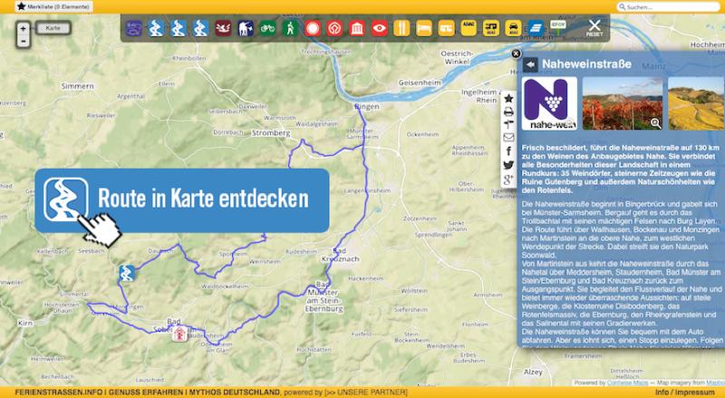 Karte Naheweinstraße