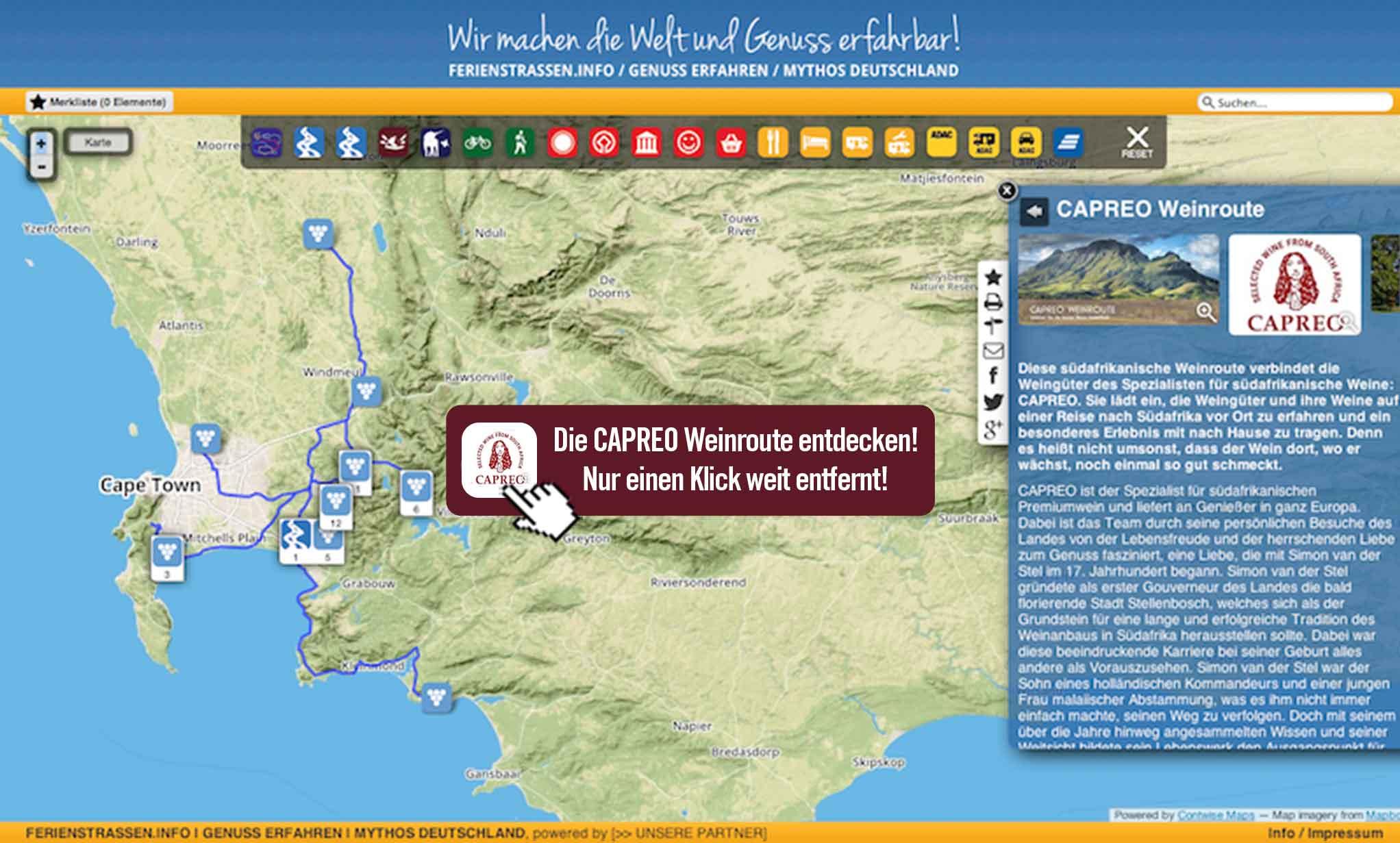 Karte CAPREO-Weinroute