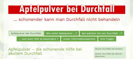 Akuter Durchfall: Hilfe mit Apfelpulver Link: www.apfelpulver-bei-durchfall.de und ww.aplona.de