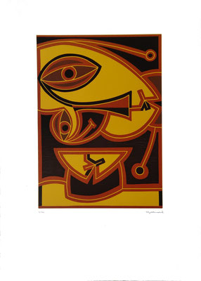 """Verdrehter Kopf"", Farblinoldruck, 1998, 2/40, 30 x 42 cm, Blattgröße: 50 x 70 cm, Preis: 360, verkauft Euro"