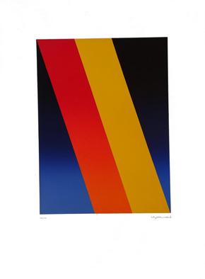 """""""Schrägflächen"""", Farblinoldruck, 1994, 28/50,  41,9  x 30,2 cm, Blattgröße ca. 70 x 50 cm. Preis: 360 Euro"""