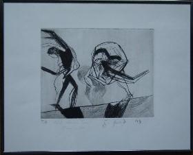 """""""Auf dem Seil"""", 1993, Radierung 50 x 40 cm  signiert  Gewidmet: """"für Lisa"""", Auflage 10"""