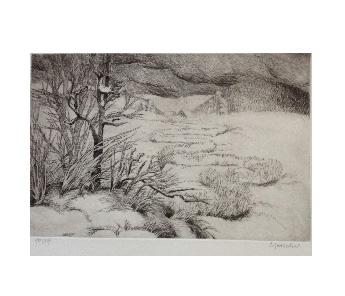 Winterlandschaft, Radierung (1985) 15/27, handsigniert, Bild 19,5 x 30 cm, Blatt 38 x 52 cm, Preis: 190 Euro