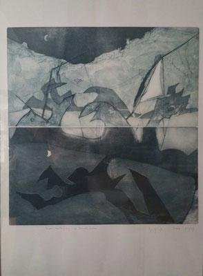 """""""Untergang im Mondschein"""", Radierung auf zwei Platten 70 x 100 cm,  Signiert, Auflage 3/5  Preis: 600 Euro"""