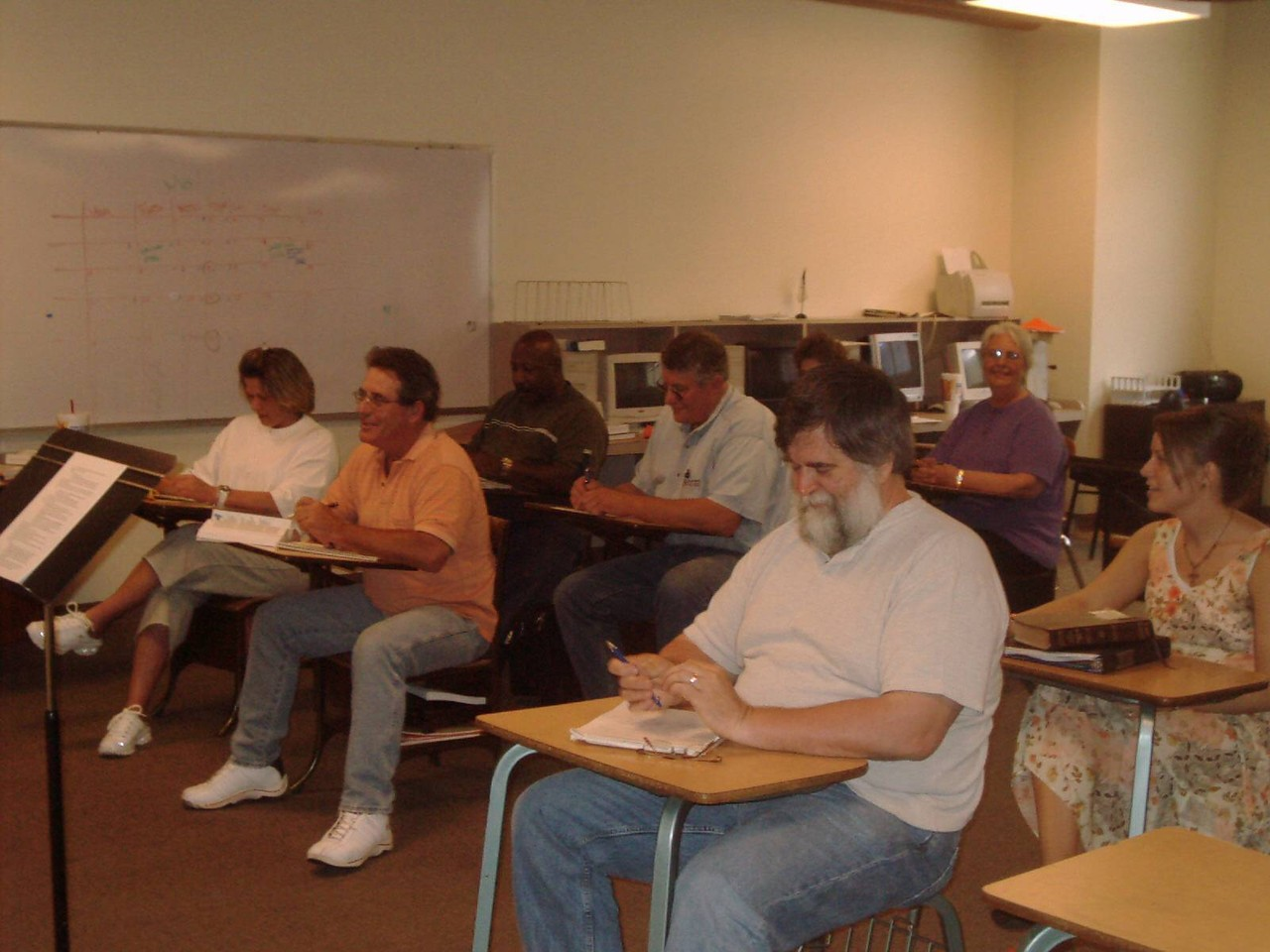 Students learn through classroom instruction, DVDs, and online training.