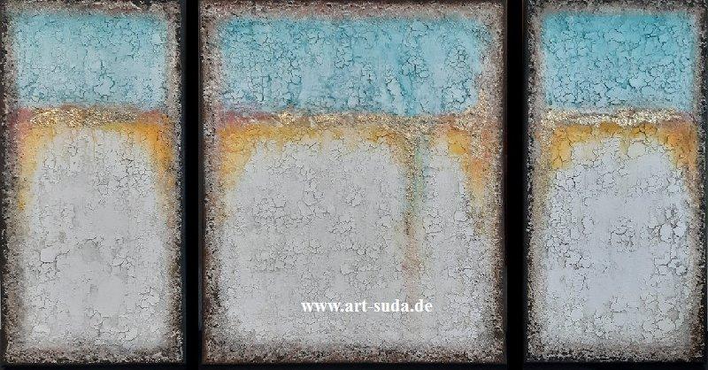 Dreiteilige Deko mit Marmormehl 115 x 60