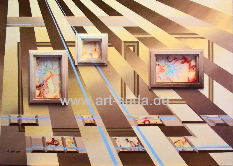 Collage mit Holz und Ebru 70 x 50