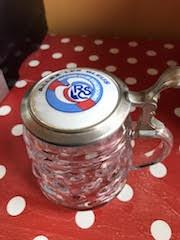 Chope de bière, avec le logo du Racing sur le couvercle, époque inconnue (Contributeur : Vincent DUKES)