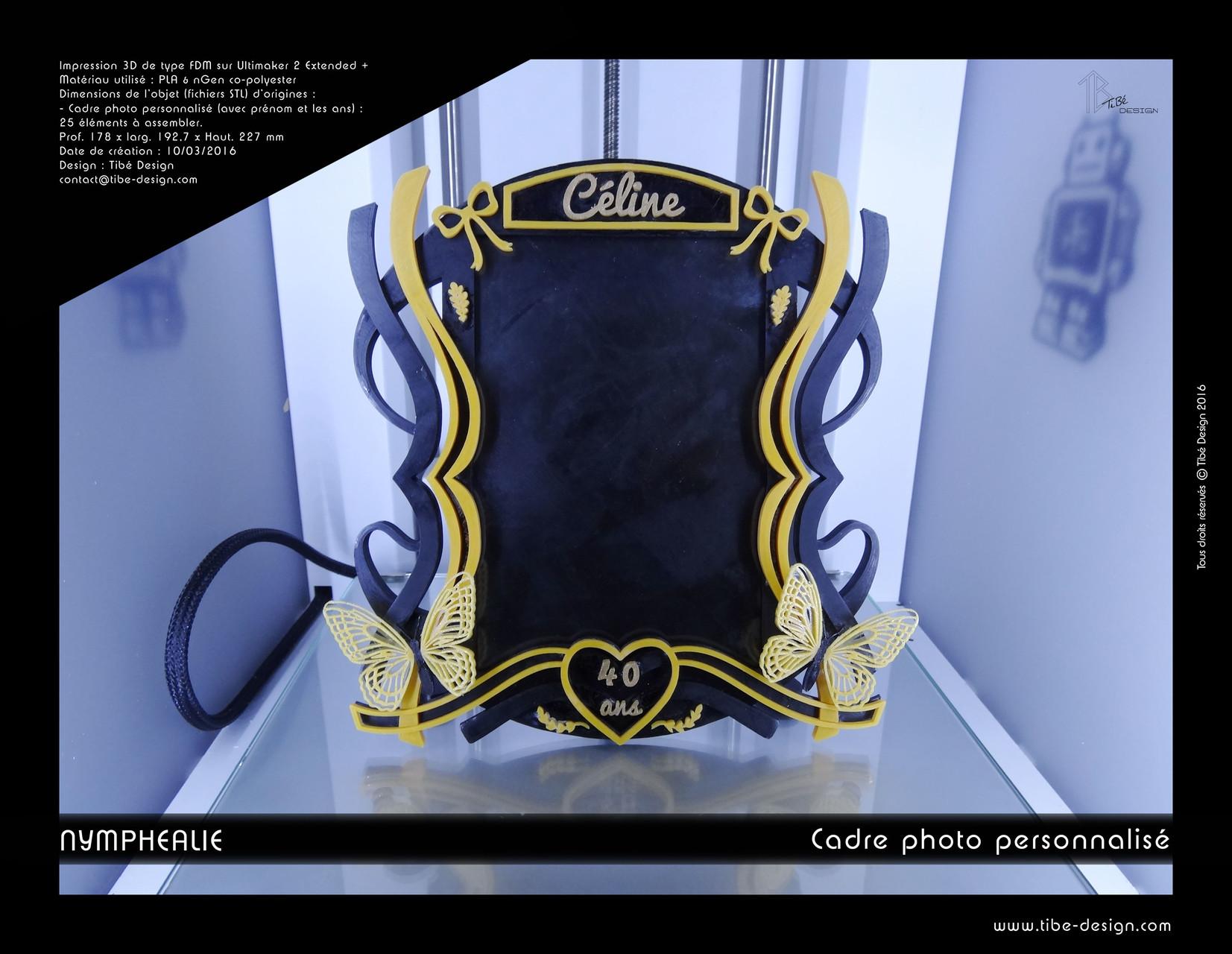 Cadre photo personnalisé print 3D design Nymphéalie