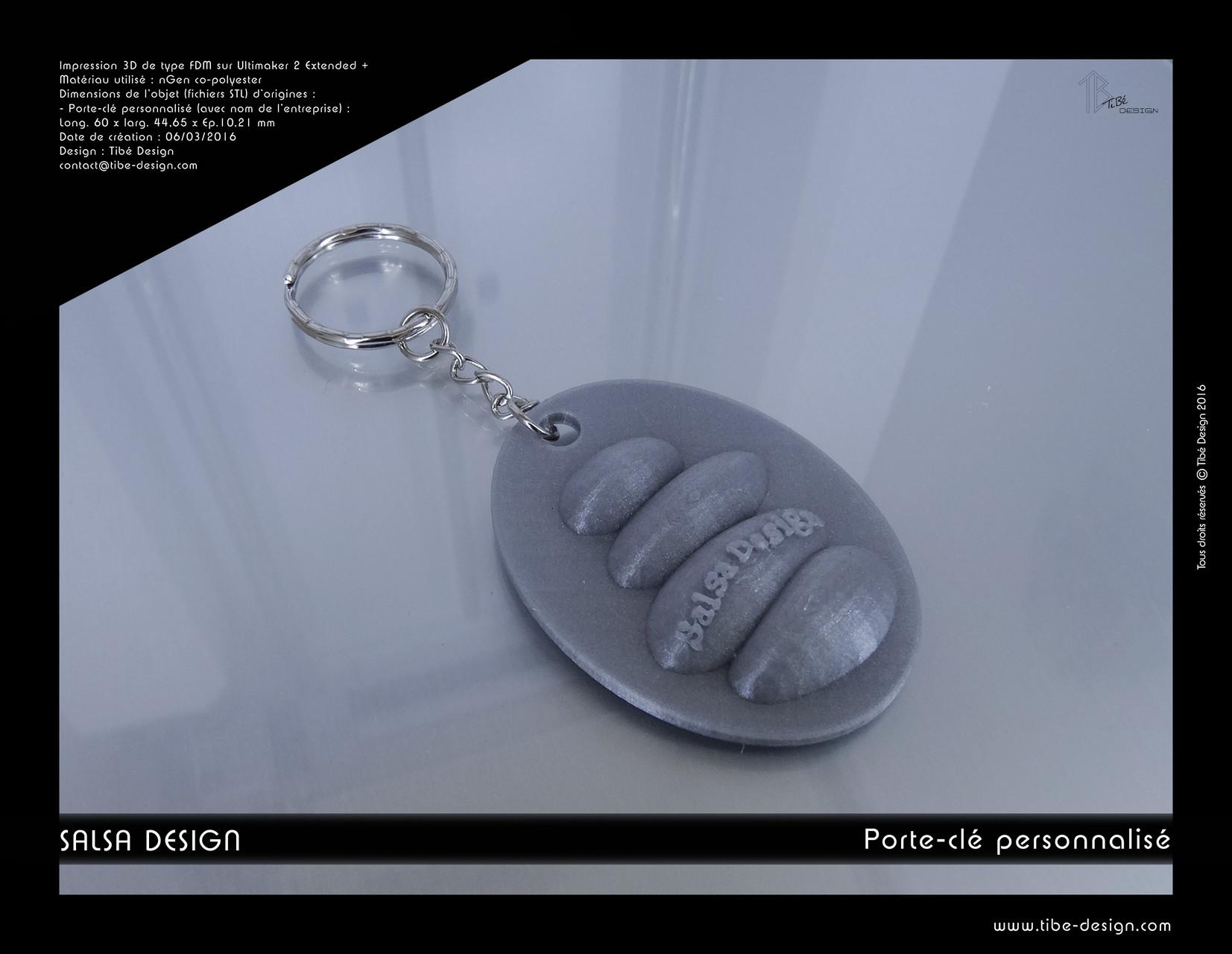 Porte-clés personnalisé print 3D Salsa Design