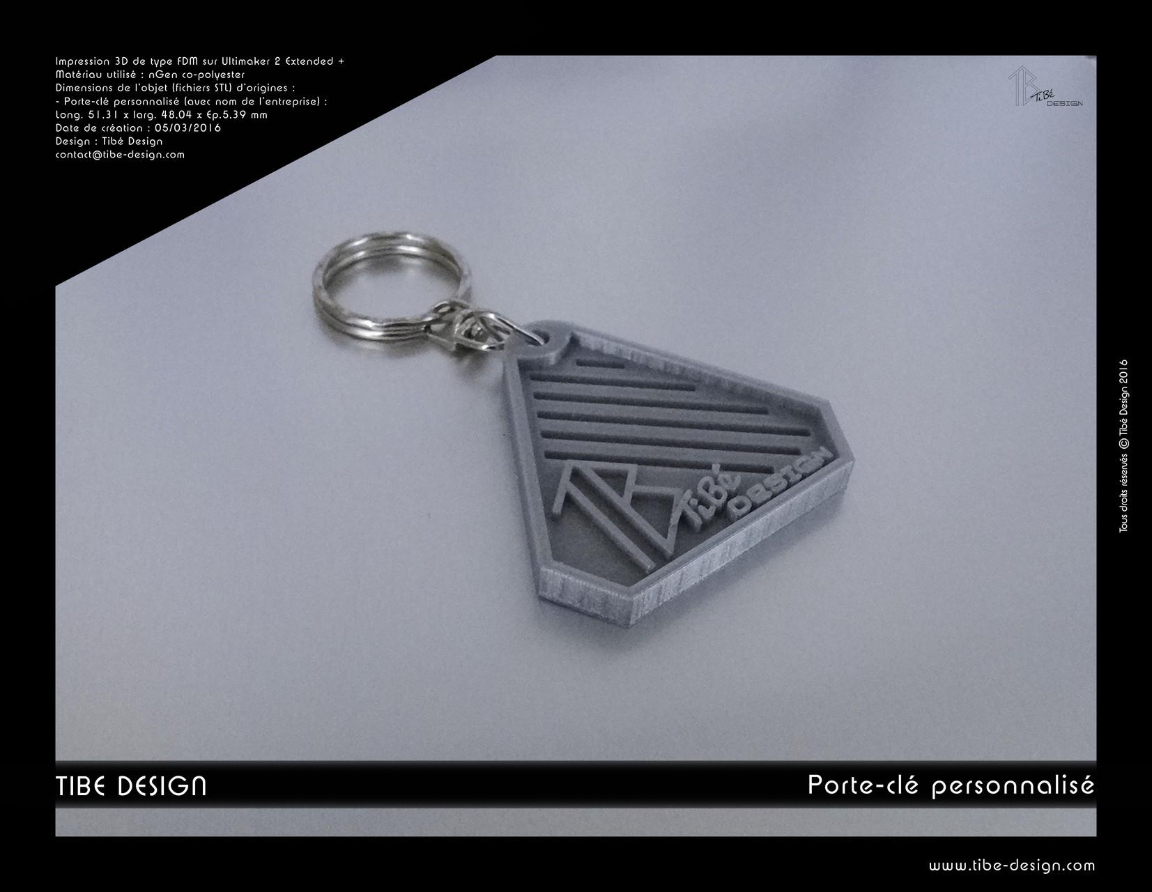 Porte-clés personnalisé print 3D Tibé design