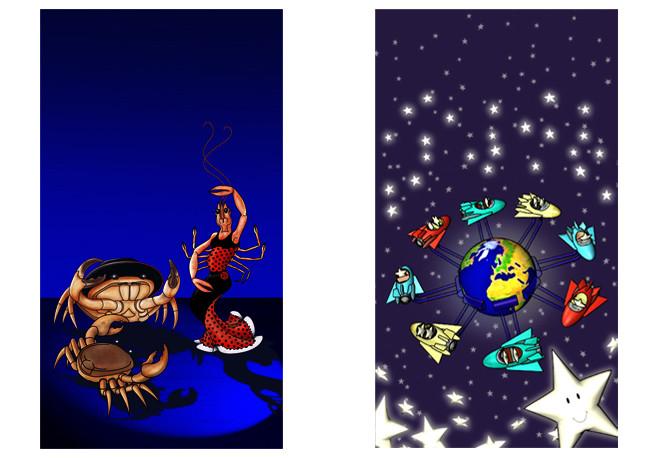 Illustration Le Flamenco des Crustacés et le Manège aux étoiles