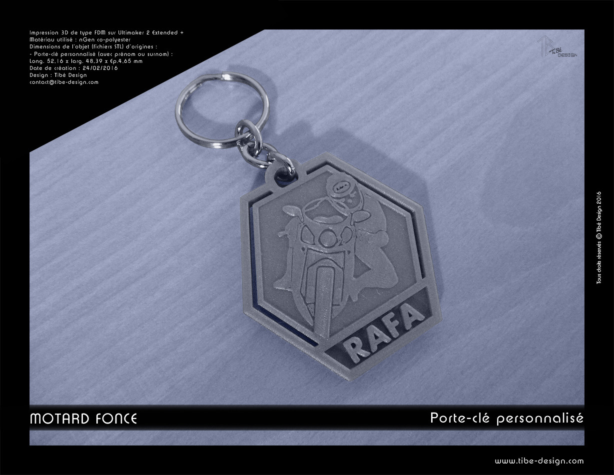 Porte-clés personnalisé print 3D Motard fonce !