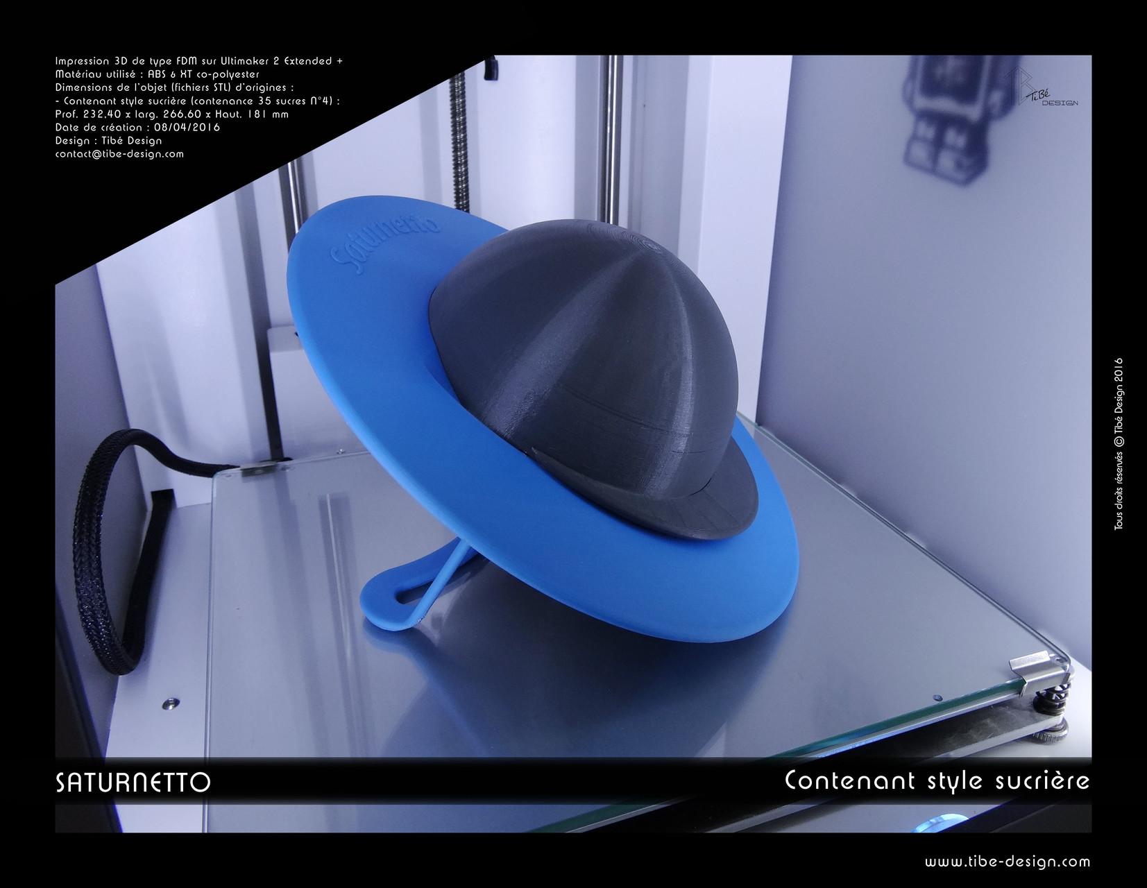 Contenant print 3D design Saturnetto (sucrière)