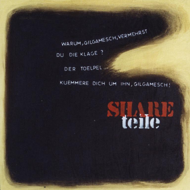 Tafel Share, Acryl auf Holz, 2001, 0,3 x 0,3 m