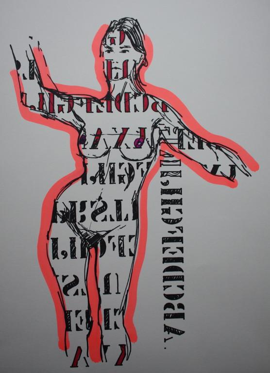 font girl, Zeichnung Lackstift/Papier, 2011, 0,4 x 0,3 m