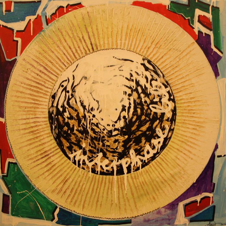 Interphase life 2010, Acryl, Lack, Spachtelmasse auf Leinwand, 1 x 1m