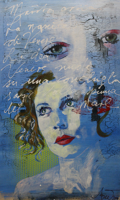 Marita/Hommage à Botticelli, Acryl auf Holz, 2009, 0,3 x 0,4 m